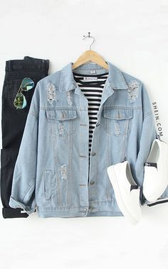 132c5ae0a91c1 Buttoned Front Ripped Light Blue Denim Jacket Outfit Goals