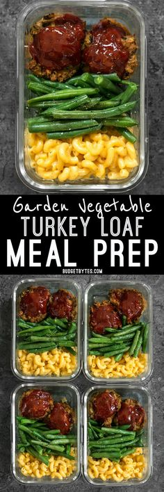 Garden Vegetable Turkey Loaf Meal Prep - Budget Bytes - It& comfort food in a box! You& look forward to eating this veggie-packed Garden Vegetable Turkey Loaf Meal Prep for lunch every day. Lunch Meal Prep, Meal Prep Bowls, Easy Meal Prep, Healthy Meal Prep, Healthy Eating, Lunch Meals, Diet Meals, Turkey Loaf, Turkey Meatloaf