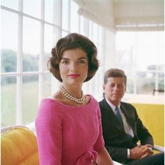 Jackie Kennedy wearing pearls and the newest color of that year, 'Shiaparelli pink'!