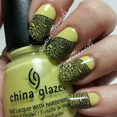 Tribal black and chartreuse green yellow nail art.  Does that cover it?