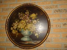 Antique Still Life Bouquet Of Flowers Round  Oil Painting For Sale Online by Antiquescove, $185.00