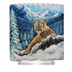 Cougar Sedona Red Rocks  Shower Curtain by  Dr Bob and Nadine Johnston