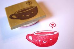 Smiling tea cup stamp in Items and accessories related to the ...