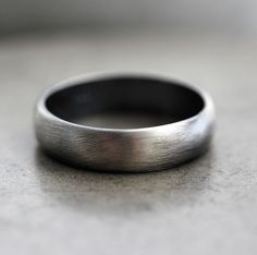 Mens Band, Roughed Up 5mm Men's or Women's Unisex Oxidized Recycled Metal Argentium Sterling Silver Ring - Made In Your Size
