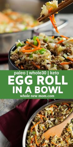 """This egg roll in a bowl with creamy chili sauce is a wonderfully flavorful, quick Whole 30 recipe. This low carb and paleo """"crack slaw,"""" as it's affectionately called, is an addictive Asian dinner recipe the whole family will love. Egg Roll Recipes, Whole 30 Recipes, Paleo Recipes, Low Carb Recipes, Real Food Recipes, Whole30 Ground Beef Recipes, Healthy Ground Beef, Recipes Using Ground Beef, Paleo Meals"""