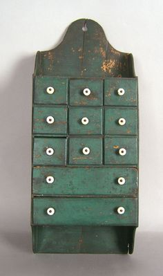 Prim Spice Cabinet...I love the fact that in has the two longer drawers at the bottom. I've never seen one like this before.