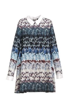 Back to School Dresses: BCBG Max Azria's long-sleeve feather-print A-line dress. [Photo: George Chinsee]