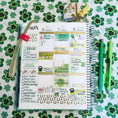 We're feeling the St. Patrick's Day love in this spread. Too cute!  (@jamie_leigh_not_curtis on Instagram)  #ErinCondren #ECLP #ECLifePlanner #StPatricksDay #teamvertical #teamneutral