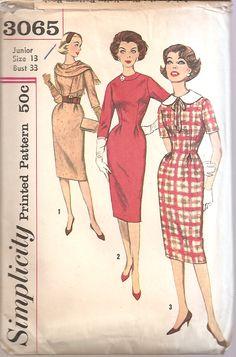 1950s Wiggle Dress Sheath Scarf Junior Pattern Size 13 by SelmaLee, $6.00