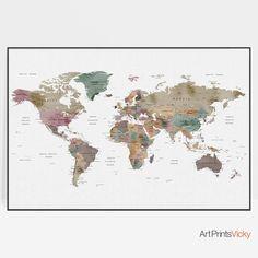Large world map world map wall art world map art world map poster travel map Office decor Map gifts ArtPrintsVicky by ArtPrintsVicky World Map Wall Art, World Map Poster, Art World, Map Posters, World Map Travel, Travel Maps, Skyline Art, Map Artwork, Map Wall Decor