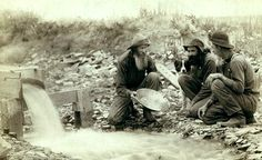 Gold panning in the 1800s - American River, California