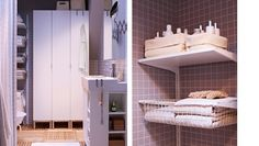Hochschränke und viele Regale in einem kleinen Bad, u. a. LILLÅNGEN Hochschrank mit 1 Tür + LILLÅNGEN Waschkommode mit 1 Tür + 2 Abschlussre...