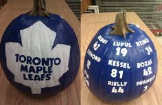Toronto Maple Leafs pumpkins About to do this but with Dallas Stars colors and team Fall Pumpkins, Halloween Pumpkins, Halloween Ideas, Hockey Teams, Hockey Stuff, Sports Teams, Soccer, Best Pumpkin, Pumpkin Ideas