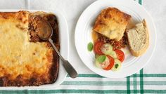 Red lentil and aubergine moussaka recipe - BBC Food Vegetable Stock Cubes, Vegetable Puree, Vegetable Dishes, Lamb Moussaka Recipe, Vegan Moussaka, Bbc, Mint Salad, Types Of Cheese, The Fresh