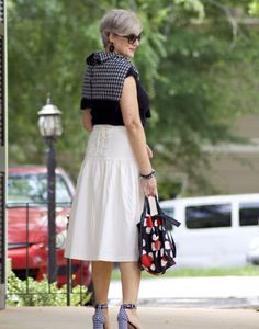 ann taylor skirt, black tee, gingham sandals, marc jacobs tote, j.crew cardigan