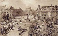 Bucureşti Piața I.C. Brătianu, cca. 1935 În fundal, se observă în construcție Blocul Central Palace de pe Calea Victoriei nr. 23 (în spatele Grand Hotel de Boulevard)