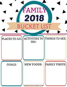 Enjoy this Family Bucket List, checking off adventures this year together as a family! Bucket List Family, Family First, New Recipes, Reflection, Places To Go, Printable, In This Moment, Activities, Adventure