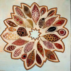 original wreath of authentic leaves, hand painted with ethnic motifs on light blue wood by Elena Nuez via Etsy. Autumn Crafts, Nature Crafts, Diy Nature, Art For Kids, Crafts For Kids, Arts And Crafts, Painted Leaves, Hand Painted, Art Projects