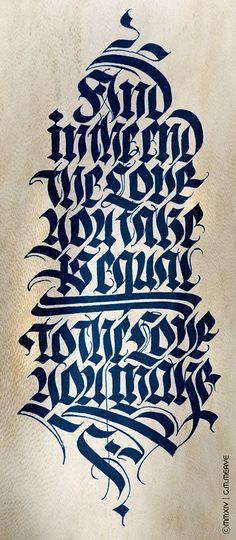 Caligrafía original en gótica fraktur. Gabriel Martinez