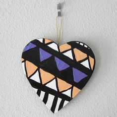 """""""80s Triangles Heart Ornament"""" - #etsy @katnawlins $7.00 #ornament #holidays #handmade #colorful #heart #triangles #handpainted #geometric"""