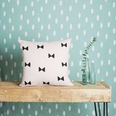 Pink Bow - Cushion Cover: Holly's House are excited to launch our debut collection of homewares for Spring/Summer 2014.   -Designed by Holly Wick & Tansy Haak -The collection showcases Native American influenced patterns  -The Pink Bow cushion has been lovely hand printed