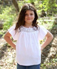 Another great find on #zulily! White Flower Lucita Top - Infant, Toddler & Girls by Little Cotton Dress #zulilyfinds