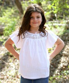 Look at this #zulilyfind! White Flower Lucita Top - Infant, Toddler & Girls by Little Cotton Dress #zulilyfinds
