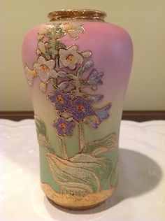 Beautiful Nippon Coralene Vase.....This gorgeous piece sold for over $1,000.  B.