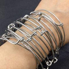 Bulk lot 50 pcs Silver Tone Adjustable Wire Bangle by VogueStuffs