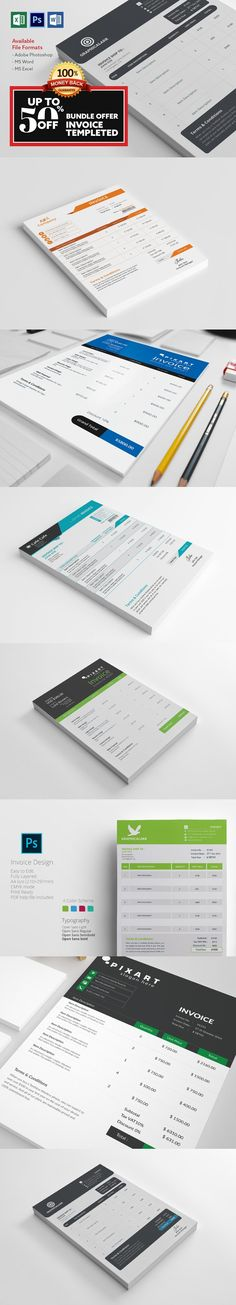 7 INVOICE BUNDLE OFFER(Limited Time). Stationery Templates
