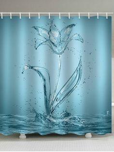 Water Flower Print Waterproof Shower Curtain