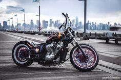 o'º--O ~ ~ ~ ~ Custom Built Honda Bobber & Chopper Bikes Honda Shadow Bobber, Honda Bobber, Bobber Bikes, Old School Motorcycles, Vintage Motorcycles, Custom Motorcycles, Custom Choppers, Custom Bikes, Chopper Cruiser