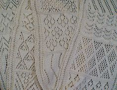 A lace sampler Knit Heart Strings made based on the original in the Brooklyn Museum that Susanna E. Lewis studied and wrote about in her book