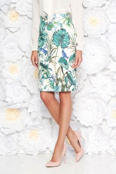 StarShinerS green skirt office midi slightly elastic fabric high waisted with straight cut, floral prints, slightly elastic fabric, high waisted, straight cut