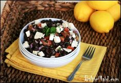 Black Bean Salad with Feta Cheese and Mint
