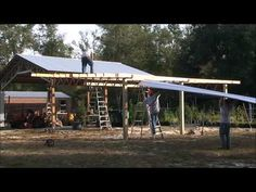 How To Install Lean To's On A 20x40 Steel Truss Pole Barn Kit - YouTube