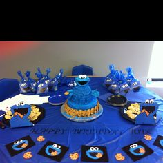 Cookie monster Party for my son.  All home made decorations and my sis in law made the cake