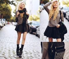 Choies Jumper, Romwe Skirt, Ash Footwear Backpack, Ash Footwear Boots, Chic Wish Scarf
