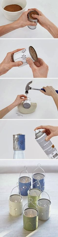 Easy DIY Crafts: DIY Tin Can Lanterns! Put citronella candles in them and set them outside and not only are they cute little lanterns they keep the bugs away!