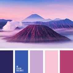 голубой, дизайнерские палитры, малиновый, нежный розовый, оттенки заката, оттенки фиолетового, подбор цвета, почти-черный, синий, сиреневый, темно-фиолетовый, цвет гортензии, цвет фиалок, цвет фиолетовых орхидей, цветовое решение для дома.