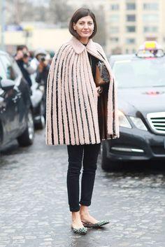 cape shape, leather and fur striped