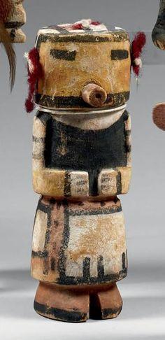 Kachina au délicat masque jaune Hopi, Arizona, U.S.A. Bois, pigments,