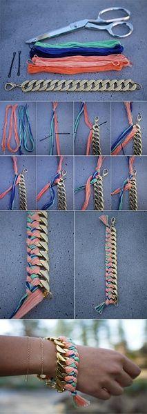 又来一个金属味儿的编织手绳:)