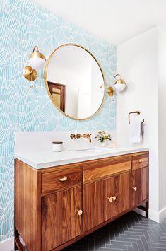 Rainy Day Herringbone Bathroom | Fireclay Tile Open Concept Home, Fireclay Tile, Bathroom Wallpaper, Style Tile, Fashion Room, Bathroom Flooring, Bathroom Interior Design, Beautiful Homes, House Beautiful