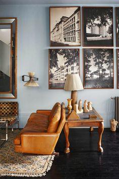 Living room - Blue walls - Home of Santiago Castillo - Via Habitually Chic My Living Room, Home And Living, Living Spaces, Modern Living, Modern Loft, Rustic Modern, Small Living, Decoration Inspiration, Interior Inspiration