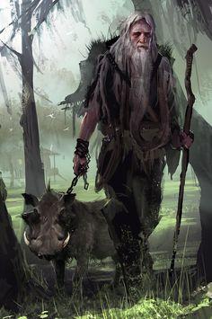 m Druid Staff Wild Boar forest farmland lwlvl Concept art Dark Fantasy, Fantasy Male, Fantasy Rpg, Medieval Fantasy, Fantasy World, Fantasy Portraits, Character Portraits, Fantasy Artwork, Fantasy Character Design