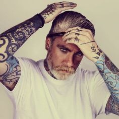 """The other pinner wrote """"What did you say about being old with tattoos again?""""  I have to agree with her if this is what my husband looks like when he is older I will be an extremely lucky woman !!!!"""
