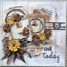 Live+Today+***49 and Markets Beautiful Vintage Artistry Collection, Rustic Blooms, Burlap and Gabi's Butterflies are Free Stamp Set. I also used Dusty Attic Chipboard.
