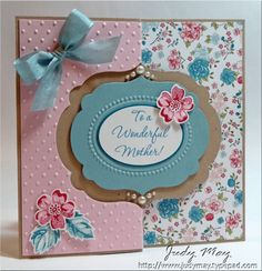 handcrafted Mother's Day card ... hybrid digicard with My Design Studio ...  flip card format ... Labels Framelit for the flipping part ... sweet pinks and blues ... lovely patterned paper ... great card!! ... Stampin' Up!