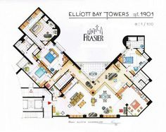 LoL oMg! The floorplan of Frasier Crane's apartment  at the Elliot Bay Towers! This is the reason I am obsessed with living in a high rise with a city skyline view!